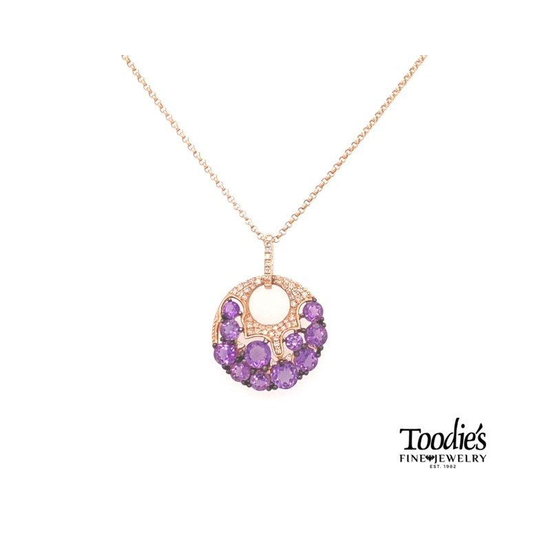Toodie's Signature Fashion Rose Gold Amethyst And Diamond Necklace