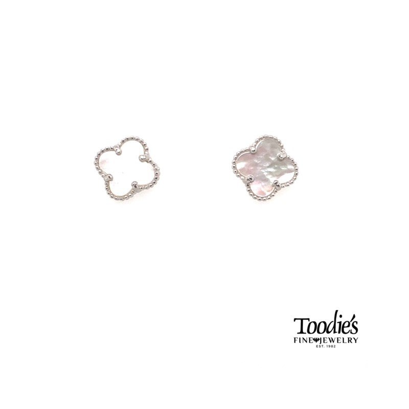 Toodie's Signature Fashion Sterling Silver Mother Of Pearl Mini Clover Studded Earrings.