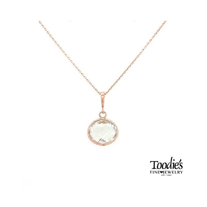 Toodie's Signature Fashion Rose Gold Green Amethyst Necklace