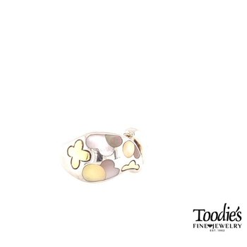 Mixed Mother Of Pearl Inlaid Style Flower Ring