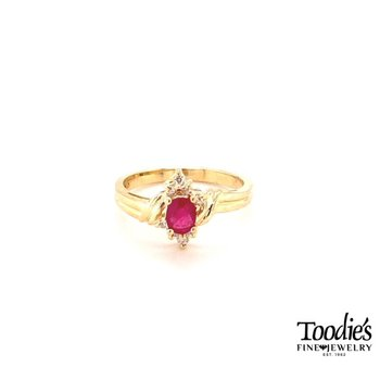 Ruby And Diamond Halo Cocktail Style Ring