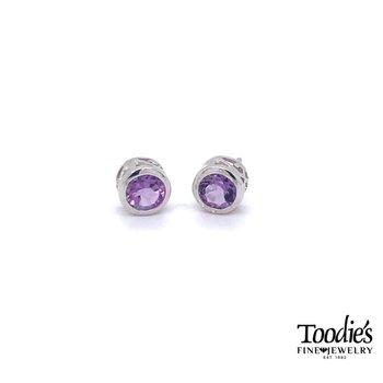Silver Amethyst Bezel Stud Earrings