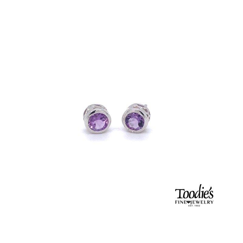 Toodie's Signature Fashion Silver Amethyst Bezel Stud Earrings