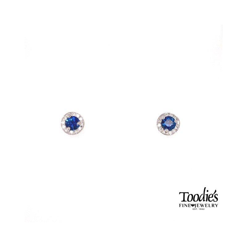 Toodie's Signature Fashion Sapphire And Diamond Halo Earrings