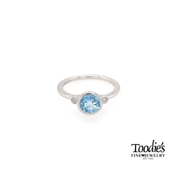 Sterling Silver Blue Topaz And Diamond Fashion Ring