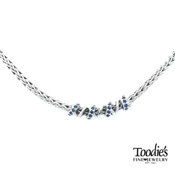 Blue Sapphire Twisted Style Necklace