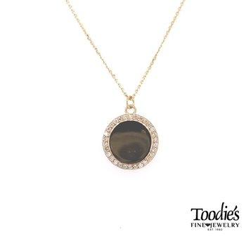 Engraveable Diamond Halo Disc Necklace
