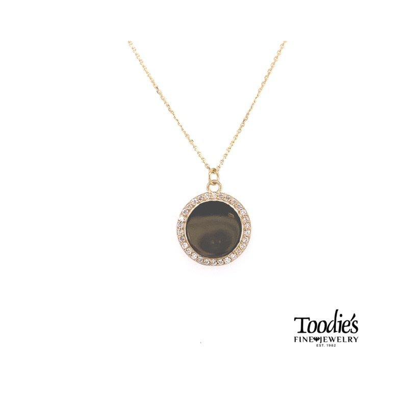 Toodie's Signature Fashion Engraveable Diamond Halo Disc Necklace