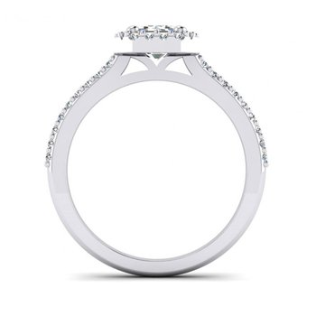 Emerald Cut/ Radiant Style Halo Engagement Ring