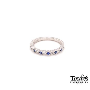 Diamond And Sapphire Bezel Set And Milgrain Ring