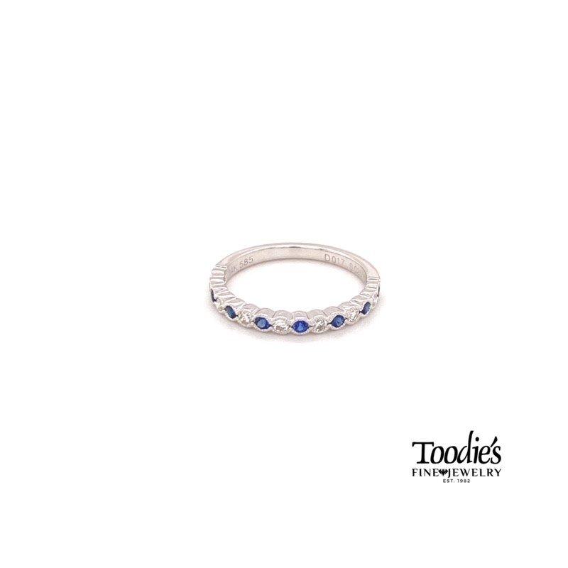 Toodie's Signature Fashion Diamond And Sapphire Bezel Set And Milgrain Ring