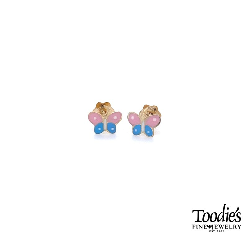 Toodie's Signature Fashion Children's Gold and Enamel Butterfly Stud Earrings