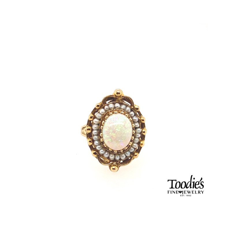 Toodie's Signature Fashion Antique Art Deco Era Opal and Pearl Ring