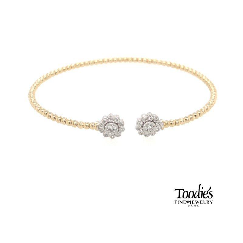 Gabriel Fashion Double Diamond Halo Open Bangle Bracelet