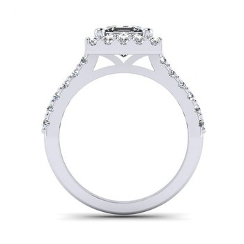 Princess Cut Diamond Halo Design Engagement Ring