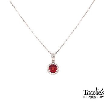 White Gold Garnet And Diamond Necklace
