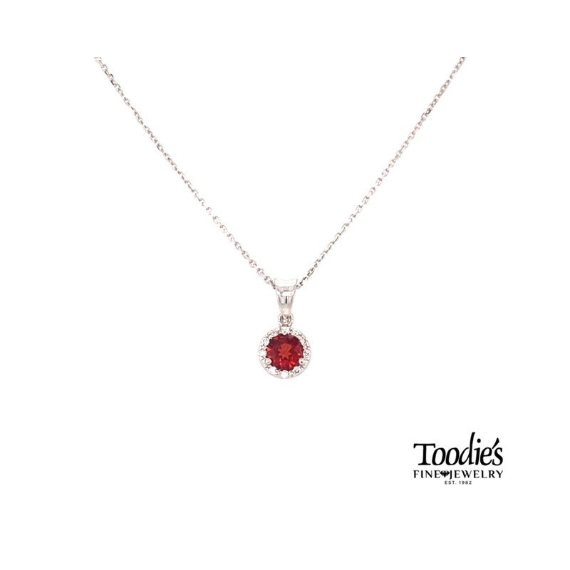 Toodie's Signature Fashion White Gold Garnet And Diamond Necklace
