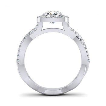 Cushion Shaped Ribbon Style Diamond Engagement Ring