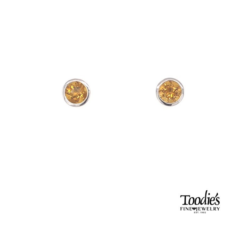 Gabriel Fashion Sterling Silver with Citrine Studded Earrings