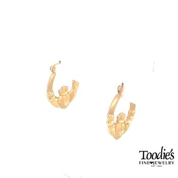 Yellow Gold Claddaugh Earrings