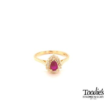 Pear Ruby and Diamond Cocktail Collection Halo Ring
