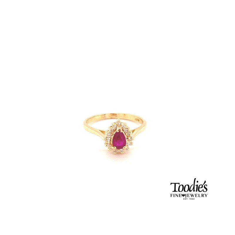 Toodie's Signature Fashion Pear Ruby and Diamond Cocktail Collection Halo Ring