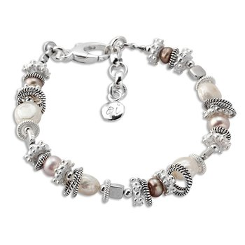Pink, White, and Brown Pearl Bracelet