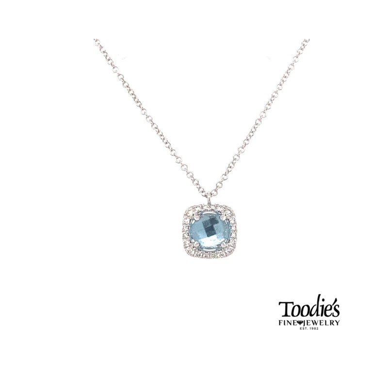 Gabriel Fashion White Gold Blue Topaz And Diamond Necklace
