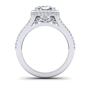 OMG Series Triple Diamond Row Emerald Cut Engagement Ring
