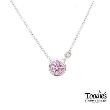 Bezel Set Pink Zircon Necklace
