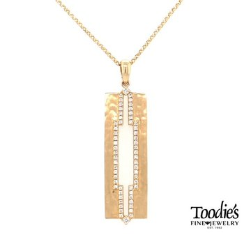 Diamond Hammered Bar Drop Style Necklace