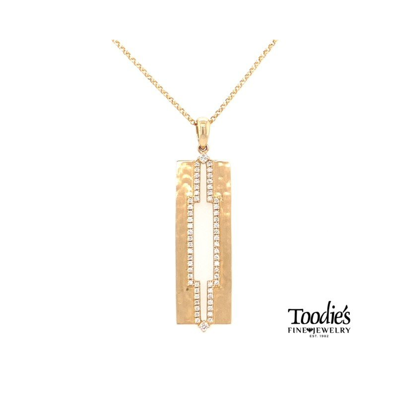 Toodie's Signature Fashion Diamond Hammered Bar Drop Style Necklace