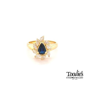Marquise Sapphire and Diamond Halo Cocktail Ring