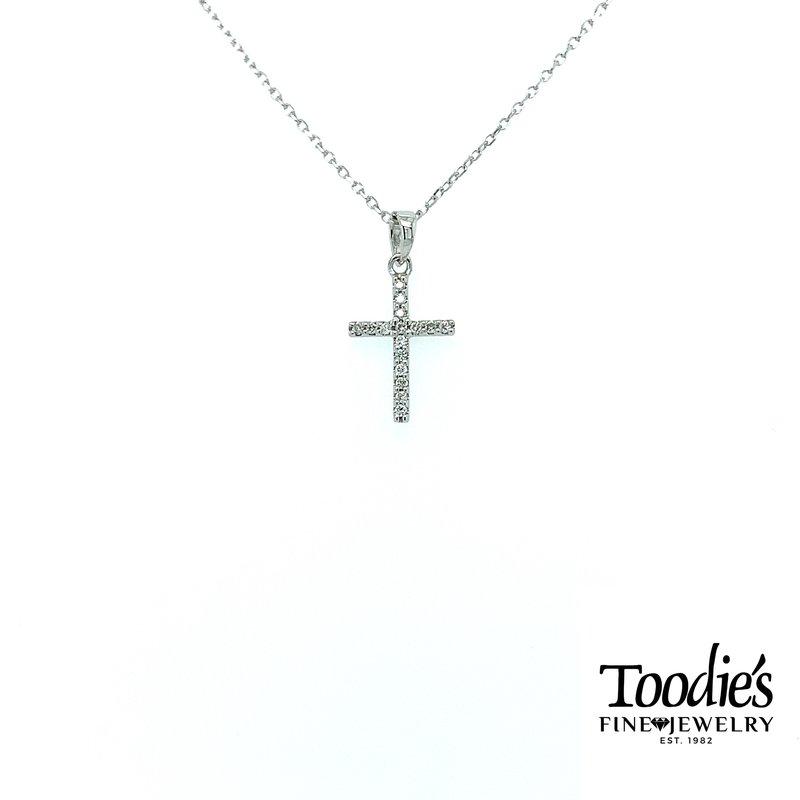 Toodie's Signature Fashion White Gold Mini Diamond Cross