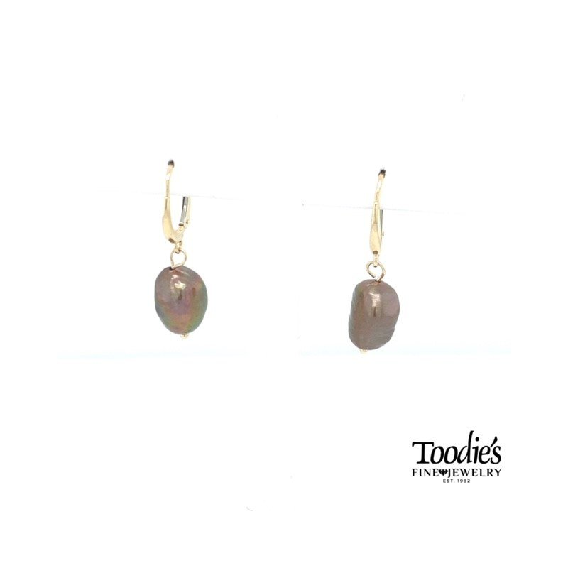 Toodie's Signature Fashion 14k Yellow Gold Freshwater Pearl Lever Back Drop Earrings