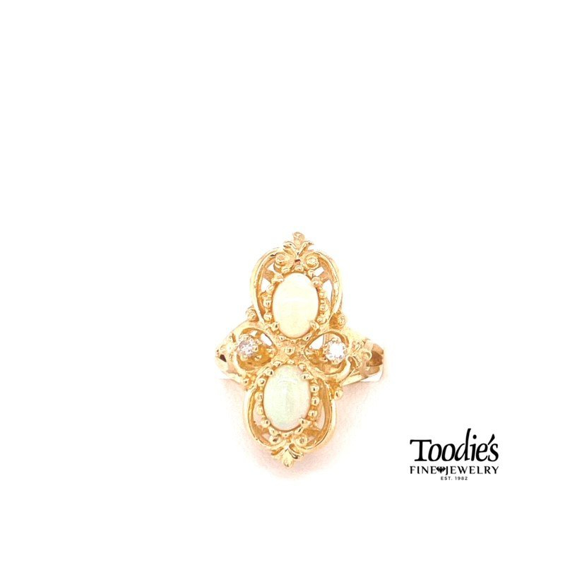 Toodie's Signature Fashion Art Deco Opal and Diamond Ring