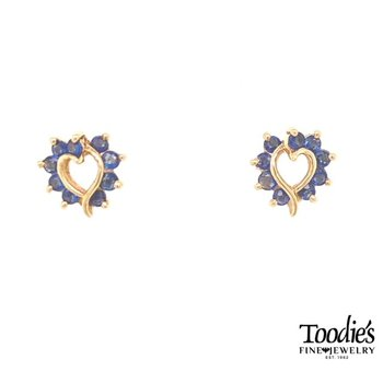 Heart Shaped Blue Sapphire Earrings