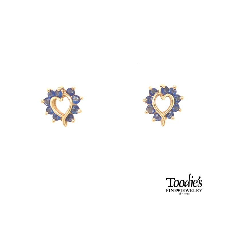 Toodie's Signature Fashion Heart Shaped Blue Sapphire Earrings