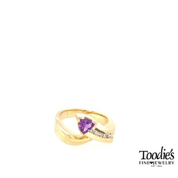 Trillion Amethyst And Diamond Ring