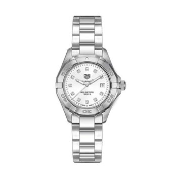 Ladies Aquaracer Watch with White Mother of Pearl Diamond Dial.