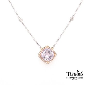 Rose Gold Amethyst And Diamond Necklace