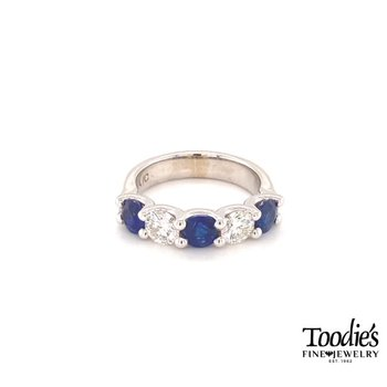 Ceylon Blue Sapphire And Diamond Five Stone Ring