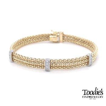 Triple Row Diamond Popcorn Bracelet
