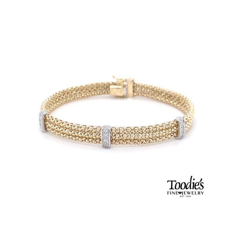 Phillip Gavriel Triple Row Diamond Popcorn Bracelet