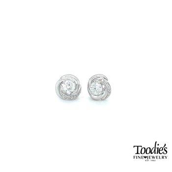 Diamond Studded Love Knot Earrings