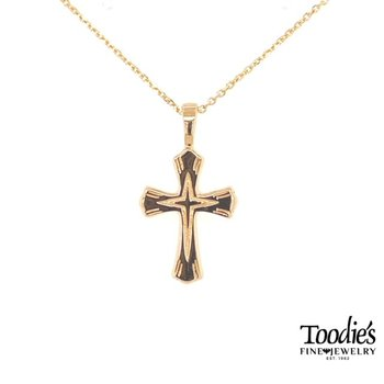 Gold Engraved Cross Necklace