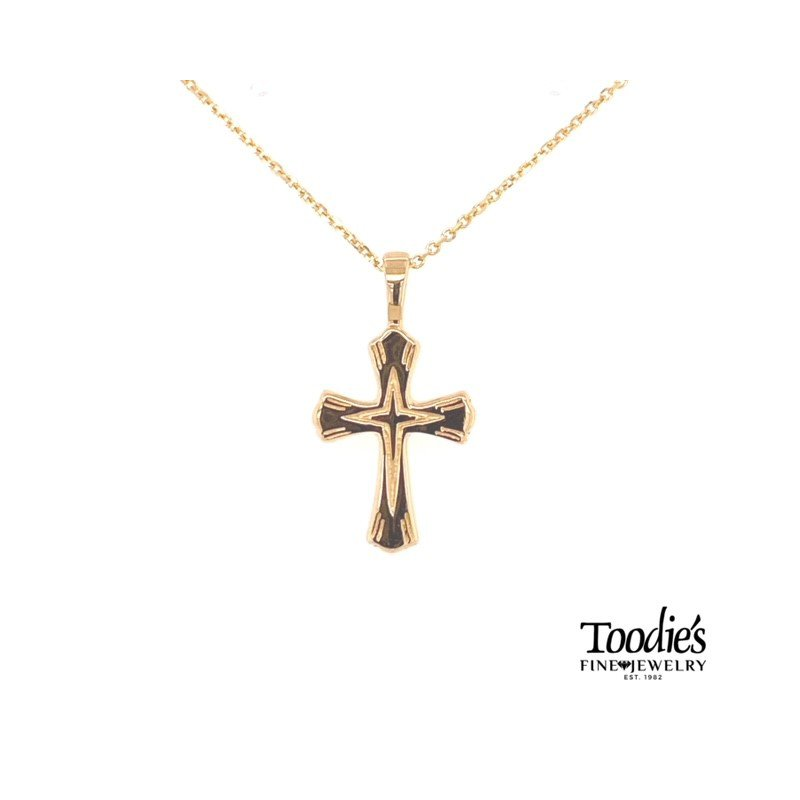 Toodie's Signature Fashion Gold Engraved Cross Necklace
