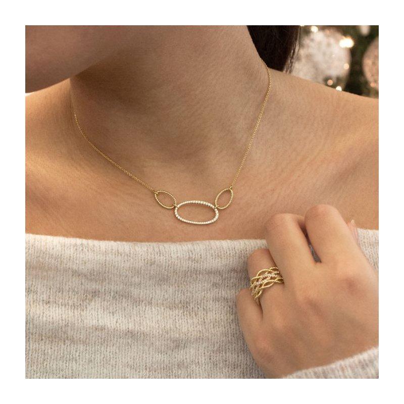 Gabriel Fashion Open Circle Design Diamond Necklace