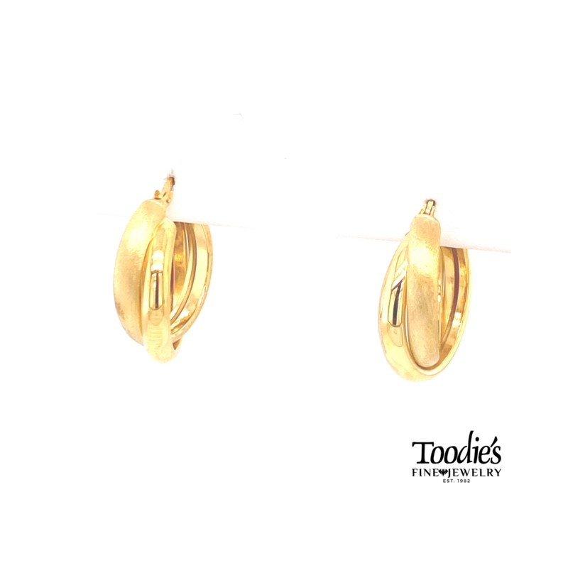 Toodie's Signature Fashion Criss Cross Satin & Polished Hoop Earrings