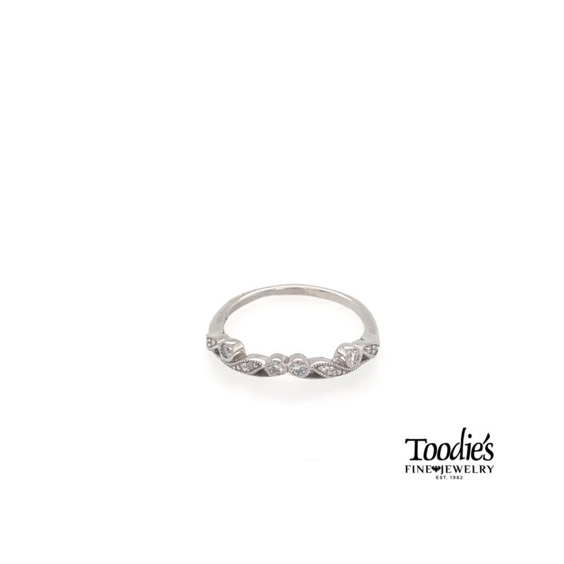 Toodie's Signature Fashion 14k White Gold Vintage Inspired Wedding Band with Milgrain Details